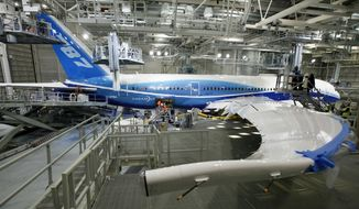 File- This April 30, 2009 file photo shows a Boeing 787, painted in the company's colors, stands in the paint hangar at the company's facility in Everett, Wash. Boeing's much-delayed 787 Dreamliner has hit another production snafu. Hairline cracks have been discovered in the wings of some 787's that are being built. The Chicago-based manufacturer said none of the 122 jets already flown by airlines around the world are affected. (AP Photo/Elaine Thompson, File)