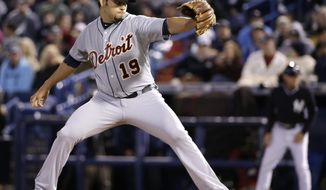 Detroit Tigers starting pitcher Anibal Sanchez (19) delivers in the first inning of a spring training baseball game against the New York Yankees in Tampa, Fla., Friday, March 7, 2014. (AP Photo/Kathy Willens)