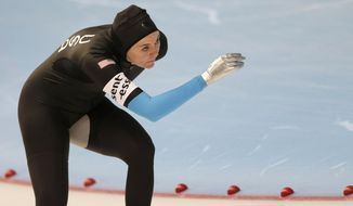 Heather Richardson of the United States competes during the women's 1500m race at the speed skating World Cup in Inzell, southern Germany, Friday, March 7, 2014. (AP Photo/Matthias Schrader)