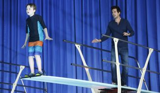 "This photo provided by NBC shows Benjamin Stockham, left, as Marcus and David Walton, as Will Freeman, in an episode of NBC's new sitcom, ""About A Boy.""   The television series airs Tuesday nights on NBC.  (AP Photo/NBC, Jordin Althaus)"