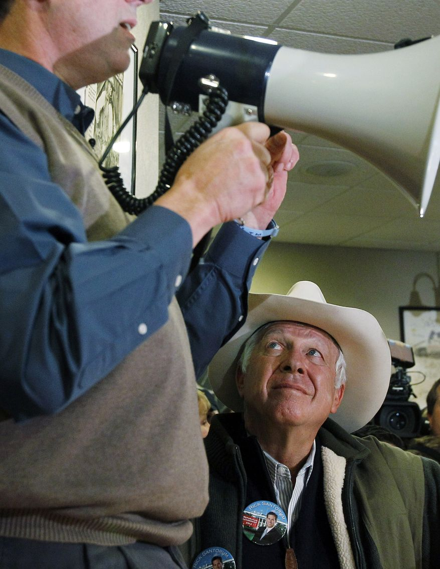 Supporter of Republican presidential candidate former Pennsylvania Sen. Rick Santorum, Foster Friess, during a meet and greet campaign stop at Pizza Ranch, Monday, Jan. 2, 2012, in Altoona, Iowa. (AP Photo/Eric Gay)