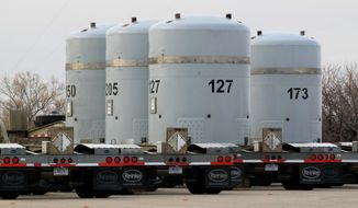 Empty nuclear waste shipping containers sit in front of the Waste Isolation Pilot Plant near Carlsbad, N.M. on Thursday, March 6, 2014. Operations at the nation's only underground nuclear waste repository were halted in February following a truck fire and a release of radiation nine days later. (AP Photo/Susan Montoya Bryan)