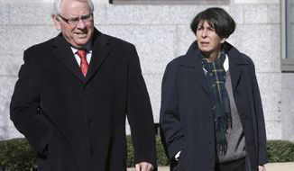FILE - In this Feb. 27, 2014, file photo, former Arkansas Treasurer Martha Shoffner, right, walks to the federal courthouse in Little Rock, Ark., with her attorney Chuck Banks. Prosecutors questioned two witnesses from Shoffner's office on Wednesday, March 5, 2014, as they work to show a bond dealer who paid Shoffner $36,000 got special treatment. Shoffner, 69, is charged in a 14-count extortion and bribery indictment that followed after the FBI equipped the bond dealer, Steele Stephens, with a listening device and listened in when Stephens made $6,000 payments to Shoffner while she was still in office.(AP Photo/Danny Johnston, File)