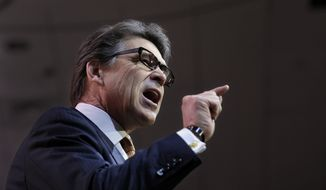 Texas Gov. Rick Perry speaks at the Conservative Political Action Committee annual conference in National Harbor, Md., Friday, March 7, 2014. Friday marks the second day of the annual Conservative Political Action Conference, which brings together prospective presidential candidates, conservative opinion leaders and tea party activists from coast to coast. (AP Photo/Susan Walsh)