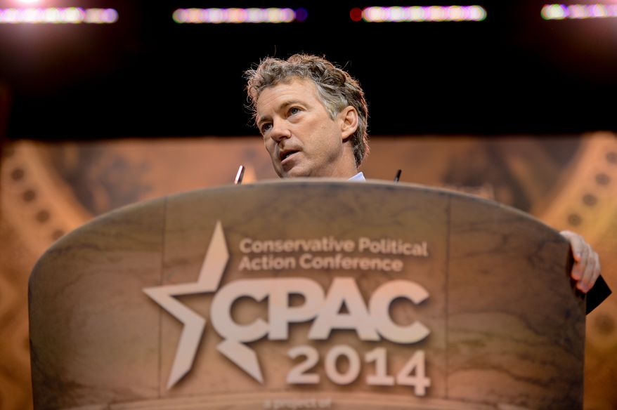 Sen. Rand Paul (R-Ky.) speaks at the Conservative Political Action Conference (CPAC) held at the Gaylord Hotel, National Harbor, Md., Friday, March 7, 2014. (Andrew Harnik/The Washington Times)