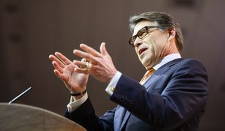 Texas Gov. Rick Perry speaks at the Conservative Political Action Conference (CPAC) held at the Gaylord Hotel, National Harbor, Md., Friday, March 7, 2014. (Andrew Harnik/The Washington Times)