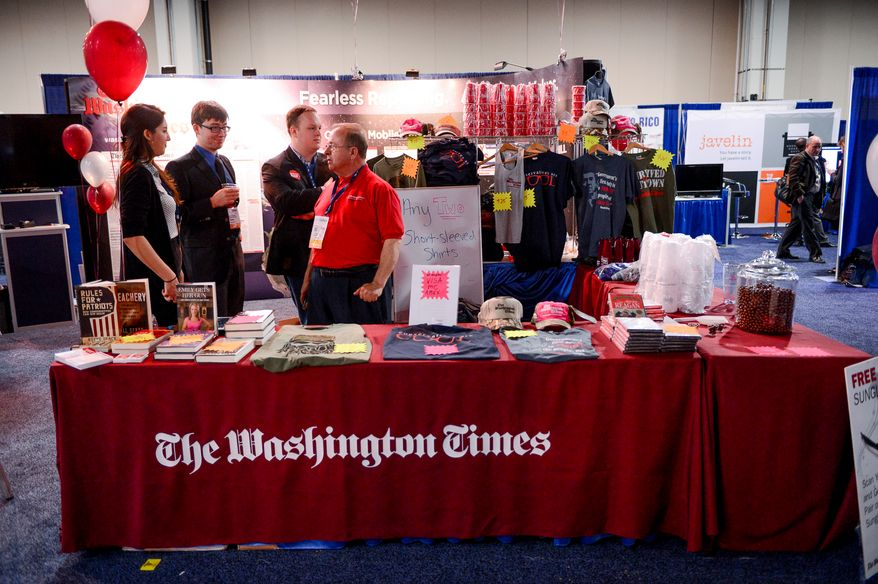 The Washington Times Newspaper's booth at the Conservative Political Action Conference (CPAC) held at the Gaylord Hotel, National Harbor, Md., Friday, March 7, 2014. (Andrew Harnik/The Washington Times)