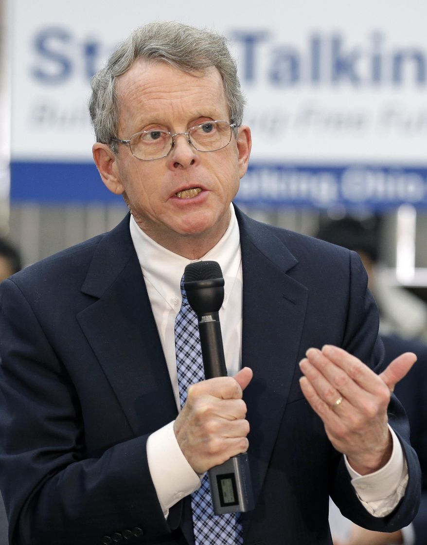FILE-In this Wednesday, Jan. 8, 2014 file photo shows Ohio Attorney General Mike DeWine speaking at West Carrollton Middle School in West Carrollton, Ohio. DeWine fell ill during a speaking engagement Friday, March 7, 2014 in Cincinnati and was taken to a hospital to be evaluated, his office said. DeWine, 67, was speaking at a luncheon event at a restaurant near Fountain Square in downtown Cincinnati before he was taken by ambulance to The Christ Hospital. (AP Photo/Al Behrman, File)