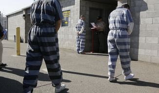 ** FILE ** In this photo taken Thursday, Feb. 20, 2014, convicted felons from Yolo County arrive at the Deuel Vocational Institution in Tracy, Calif. (AP Photo/Rich Pedroncelli)