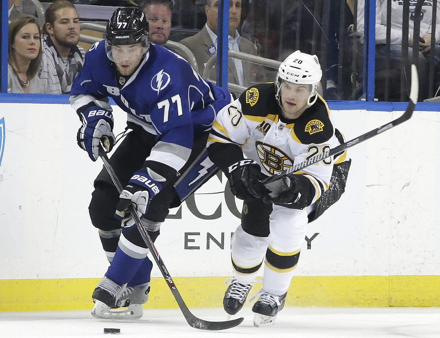 Tampa Bay Lightning defenseman Victor Hedman (77), of Sweden, and Boston Bruins left wing Daniel Paille (20) battle for a loose puck during the second period of an NHL hockey game on Saturday, March 8, 2014, in Tampa, Fla. (AP Photo/Chris O'Meara)