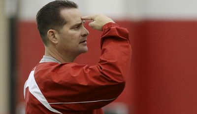 Nebraska offensive coordinator/quarterback coach Tim Beck signals a play on the first day of spring NCAA college spring football practice in Lincoln, Neb., Saturday, March 8, 2014. (AP Photo/Nati Harnik)