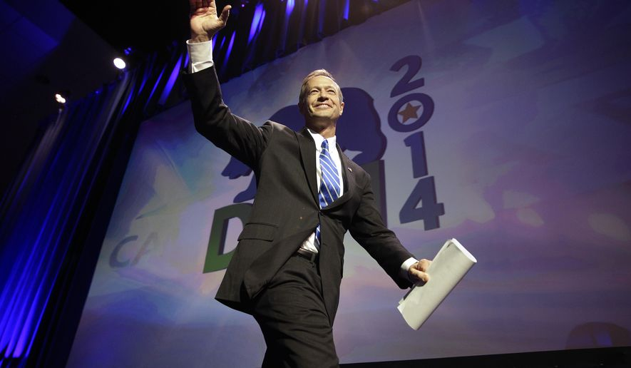 Maryland Gov. Martin O'Malley waves as he walks toward the podium at the California Democrats State Convention on Saturday, March 8, 2014, in Los Angeles. (AP Photo/Jae C. Hong)