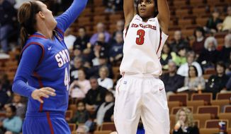 Rutgers' Tyler Scaife, right, shoots over SMU's Mallory Singleton, left, during the first half of an NCAA college basketball game in the quarterfinals of the American Athletic Conference women's basketball tournament Saturday, March 8, 2014, in Uncasville, Conn. (AP Photo/Jessica Hill)