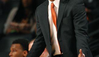 Virginia Tech head coach James Johnson reacts to a foul call during the second half of an NCAA college basketball game against Georgia Tech Saturday, March 8, 2014, in Atlanta. Georgia Tech won 62-51. (AP Photo/David Tulis)