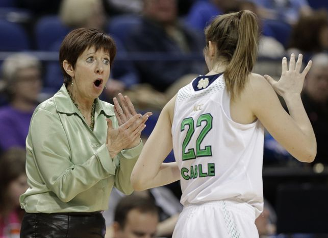 Notre Dame head coach Muffet McGraw, left, talks with Madison Cable, right, during the first half of an NCAA college basketball semifinal game against North Carolina State at the Atlantic Coast Conference tournament in Greensboro, N.C., Saturday, March 8, 2014. (AP Photo/Chuck Burton)