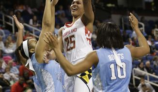 Maryland's Alyssa Thomas (25) shoots between North Carolina's Danielle Butts (10) and Allisha Gray (15) during the second half of an NCAA college basketball game at the Atlantic Coast Conference tournament in Greensboro, N.C., Friday, March 7, 2014. North Carolina won 73-70. (AP Photo/Chuck Burton)