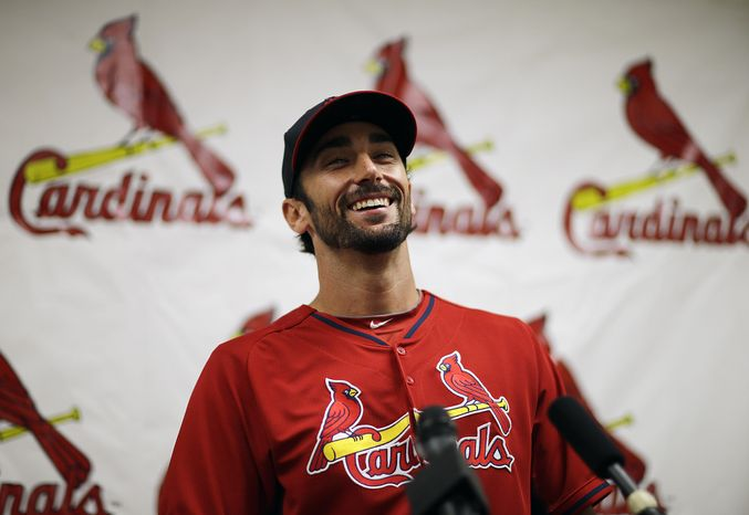 St. Louis Cardinals' Matt Carpenter speaks at a news conference at the team's spring training baseball facility, Saturday, March 8, 2014, in Jupiter, Fla. The Cardinals announced Saturday that they have agreed to a six-year contract extension with Carpenter for $52 million. (AP Photo/David Goldman)