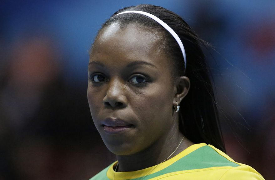 Jamaica's Veronica Campbell-Brown prepares a women's 60m heat - her first race after she returned after her doping ban - during the Athletics Indoor World Championships in Sopot, Poland, Saturday, March 8, 2014.  (AP Photo/Matt Dunham)