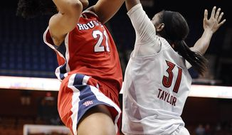 Houston's Jessieka Palmer is fouled by Louisville's Asia Taylor as she makes a basket during the second half of an NCAA college basketball game in the quarterfinals of the American Athletic Conference women's basketball tournament, Saturday, March 8, 2014, in Uncasville, Conn. Louisville won 88-43. (AP Photo/Jessica Hill)