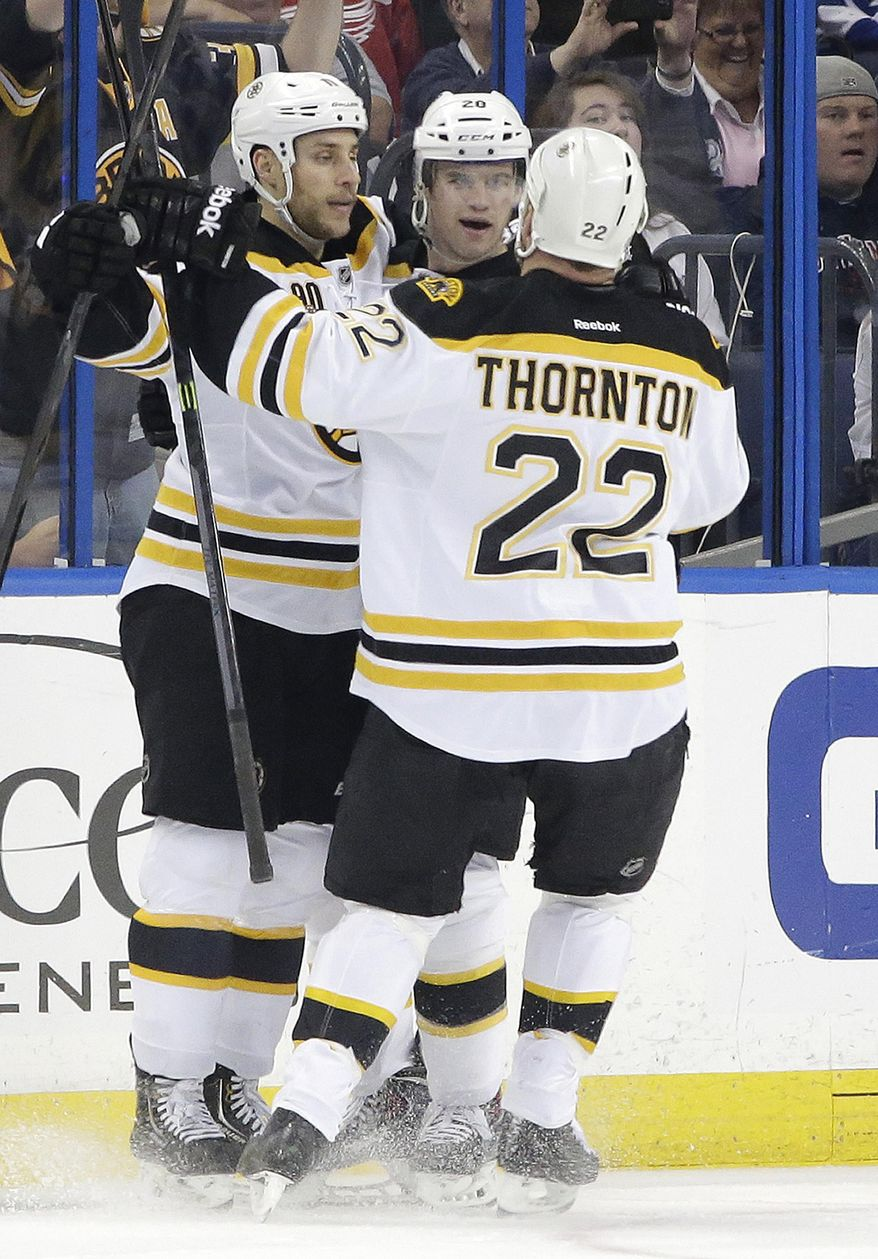 Boston Bruins left wing Daniel Paille (20), center, celebrates with teammates Gregory Campbell, left, and Shawn Thornton (22) after scoring against the Tampa Bay Lightning during the second period of an NHL hockey game on Saturday, March 8, 2014, in Tampa, Fla. (AP Photo/Chris O'Meara)
