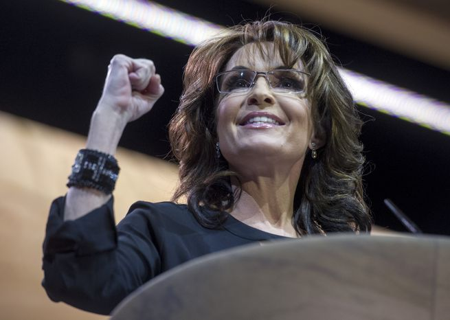 ** FILE ** Former Alaska governor and 2008 Republican vice presidential nominee Sarah Palin addresses the Conservative Political Action Committee annual conference in National Harbor, Md., Saturday, March 8, 2014. (AP Photo/Cliff Owen)