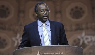Dr. Ben Carson, professor emeritus at Johns Hopkins School of Medicine, speaks at the Conservative Political Action Conference annual meeting in National Harbor, Md., Saturday, March 8, 2014. Saturday marks the third and final day of the annual Conservative Political Action Conference, which brings together prospective presidential candidates, conservative opinion leaders and tea party activists from coast to coast. (AP Photo/Susan Walsh)