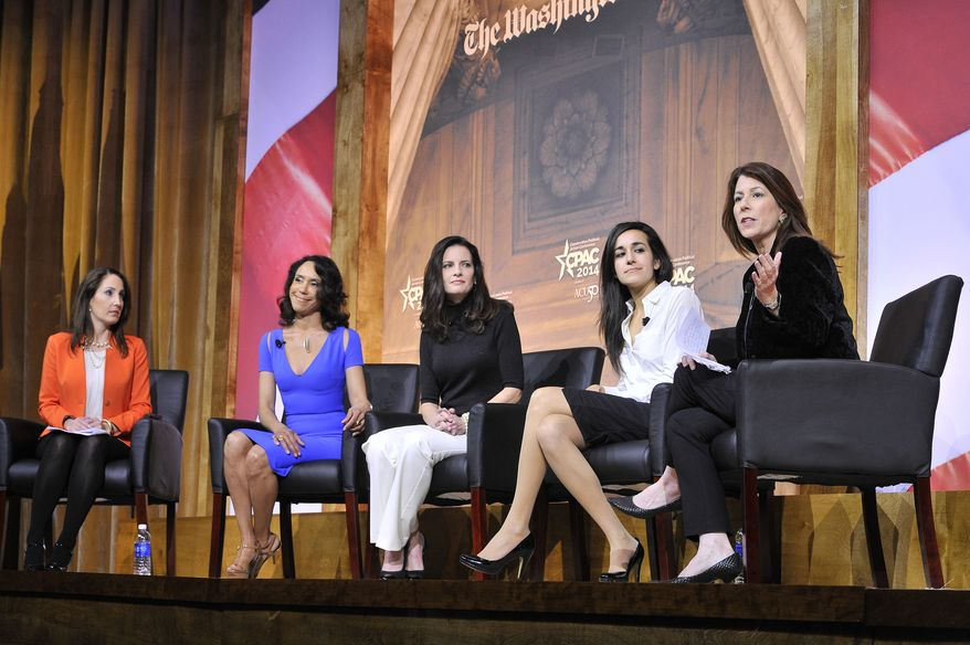The Washington Times Deputy Editor Tammy Bruce (right) moderates a panel about Why Conservatism is Right for Women: How Conservatives Should Talk About Life, Prosperity & National Security during the CPAC2014 at The National Harbor, Md. (Preston Keres/Special for The Washington Times)