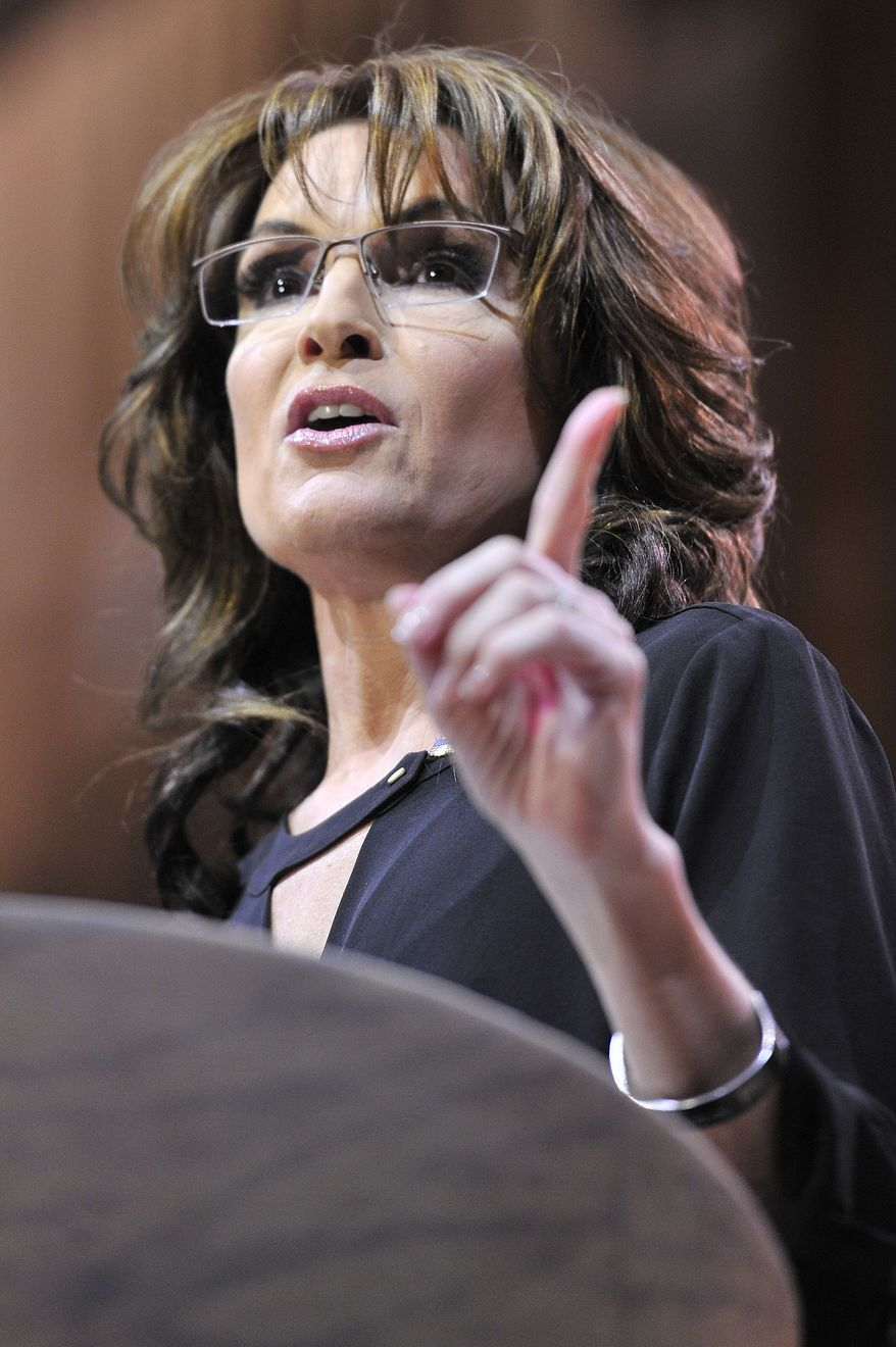 Sarah Palin, former Governor of Alaska, gives the final remarks during the CPAC2014 at The National Harbor, Md. (Preston Keres/Special for The Washington Times)