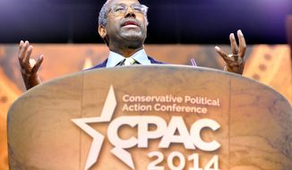 Dr. Ben Carson speaking at CPAC, where he finished third in The Washington Times/CPAC presidential preference straw poll. (Preston Keres/Special for The Washington Times)