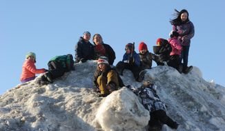 Race fans wait for Aliy Zirkle to drive her dog team into the Unalakleet checkpoint. Zirkle is the first musher to reach the Bering Sea in Unalakleet during the 2014 Iditarod Trail Sled Dog Race on Saturday, March 8, 2014. (AP Photo/The Anchorage Daily News, Bob Hallinen)