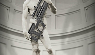 "Italian officials are threatening legal action against Illinois-based arms manufacturer ArmaLite for an advertisement showing Michelangelo's ""David"" holding a rifle. (Twitter: ArmaLite)"