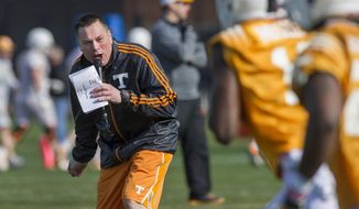 Tennessee head coach Butch Jones yells to his squad during spring practice Saturday, March 8, 2014, in Knoxville, Tenn. Jones hasn't set a timetable on when he will choose a starting quarterback. Jones said he'd decide on a starter whenever someone emerges as the clear-cut choice. (AP Photo/The Knoxville News Sentinel, Paul Efird)