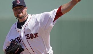 Boston Red Sox starting pitcher Jon Lester throws in the first inning of an exhibition baseball game against the Tampa Bay Rays in Fort Myers, Fla., Monday, March 10, 2014. (AP Photo/Gerald Herbert)
