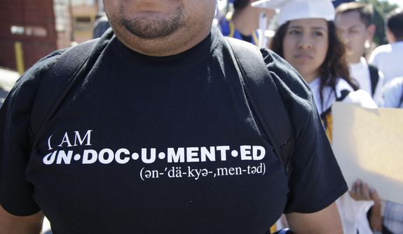 A members of the group Border Dreamers and other supporters of an open border policy march toward the United States border where some plan to ask for asylum Monday, March 10, 2014, in Tijuana, Mexico. (AP Photo/Lenny Ignelzi) **FILE**