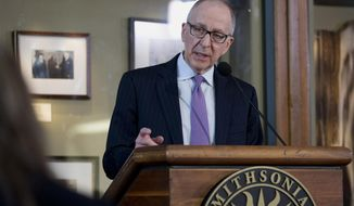 Cornell University President Dr. David Skorton speaks during a news conference at the Smithsonian Castle in Washington, Monday, March 10, 2014, where he was named the 13th Secretary of the Smithsonian Institution. Skorton, a cardiologist, will replace Secretary Wayne Clough, who plans to retire in October after six years. The 64-year-old will be the first physician to lead the organization and its 13th secretary since 1846. For much of its history, the Smithsonian has been led by scientists.  (AP Photo/Carolyn Kaster)
