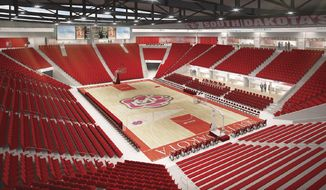 This artist's drawing provided by the University of South Dakota shows the proposed arena to be constructed at the University of South Dakota in Vermillion. The university has set May 12 as the date to break ground for new athletic facilities. The heart of the $66 million project is this 6,000-seat arena for basketball and volleyball. The facility will be connected to the existing DakotaDome by a Science, Health and Research Laboratory. (AP Photo/Courtesy of the University of South Dakota)