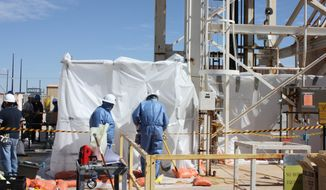 In this March 7, 2014 photo released the U.S. Department of Energy, specially-trained workers make unmanned tests inside a nuclear waste dump in Carlsbad, N.M. They are finalizing plans to enter the nation's only underground nuclear waste dump after two separate incidents forced its closure weeks ago, including a leak that exposed more than a dozen workers to low levels of radiation. Officials with the DOE's Waste Isolation Pilot Plant say initial testing shows there's no contamination at an air intake shaft that leads into the mine or at the bottom of the mine's salt shaft. (AP Photo/Department of Energy)