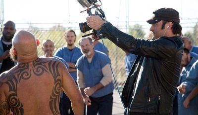 "This image released by the El Rey Network shows director Robert Rodriguez on the set of ""From Dusk Till Dawn: The Series,"" premiering Tuesday, March 11, 2014, at 9 p.m. EDT. (AP Photo/El Rey Network)"