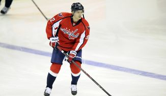 Washington Capitals center Evgeny Kuznetsov (92), of Russia, warms up before during an NHL hockey game against the Pittsburgh Penguins, Monday, March 10, 2014, in Washington. (AP Photo/Nick Wass)