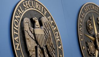 ** FILE ** This Thursday, June 6, 2013, file photo, shows a sign outside the National Security Administration (NSA) campus in Fort Meade, Md. (AP Photo/Patrick Semansky, File)