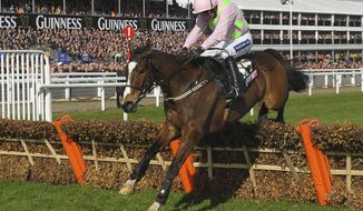 Vautour ridden by Ruby Walsh on their way to winning the Sky Bet Supreme Novices' Hurdle during the fist day of the Cheltenham Festival at Cheltenham Racecourse, Cheltenham England Tuesday March 11, 2014. (AP Photo/Tim Ireland, PA) UNITED KINGDOM OUT