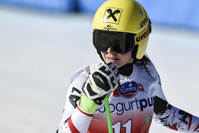 Anna Fenninger of Austria reacts during the women's downhill training session at the alpine skiing World Cup finals in Lenzerheide, Switzerland, Monday, March 10, 2014. (AP Photo/Keystone, Peter Schneider)