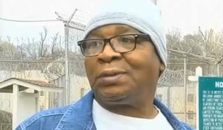 In this frame grab from video provided by WAFB-TV 9, Glenn Ford, 64, talks to the media as he leaves a maximum security prison, Tuesday, March 11, 2014, (AP Photo/WAFB-TV 9)
