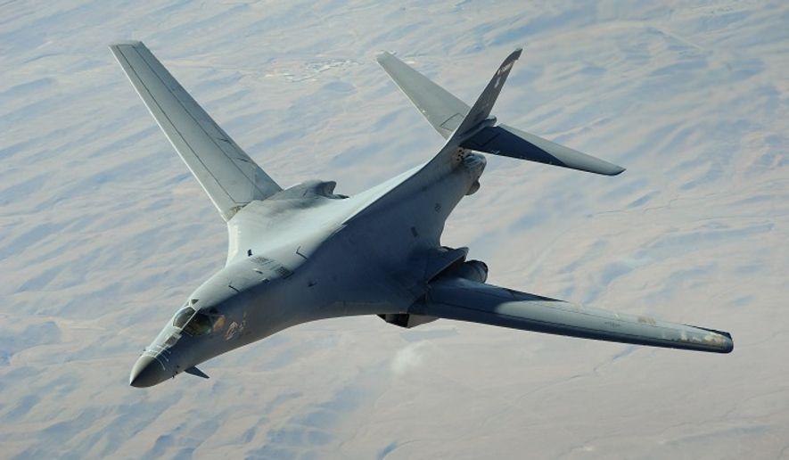 ** FILE ** A U.S. Air Force B-1B Lancer bomber from the 34th Expeditionary Squadron flies a combat patrol over Afghanistan on Dec. 10, 2008. (Image: Department of Defense)