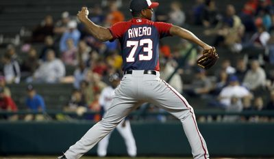 Washington Nationals pitcher Felipe Rivero (73) throws in a spring exhibition baseball game against the Atlanta Braves, Thursday, March 6, 2014, in Kissimmee, Fla. The Braves won 3-2. (AP Photo/Alex Brandon)