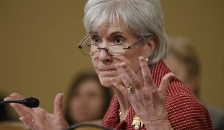 ** FILE ** Health and Human Services Secretary Kathleen Sebelius defends President Barack Obama's health care law, the Affordable Care Act, as she answers questions from Republican members of the House Ways and Means Committee during its review of President Obama's budget requests, Wednesday, March 12, 2014, on Capitol Hill in Washington.  (AP Photo/J. Scott Applewhite)