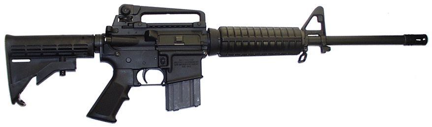 The AR-15 is a lightweight, 5.56 mm/.223-caliber, magazine-fed, air cooled rifle with a rotating-lock bolt, actuated by direct impingement gas operation or long/short stroke piston operation. It has been produced in many different versions, including numerous semi-automatic and selective fire variants. It is manufactured with extensive use of aluminum alloys and synthetic materials.
