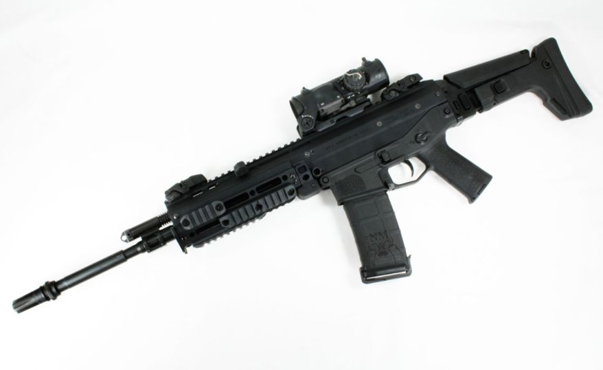 The Bushmaster ACR was made in USA in 2006 and was used in Afghanistan. It works on gas piston and rotating bolt. It has a muzzle velocity of 990 m/s and has an effective range of 500m with a 30 round magazine.