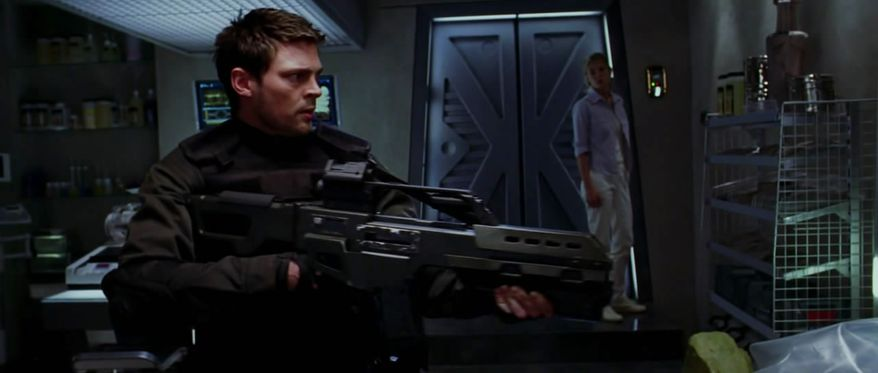 John Grimm A.K.A Reaper (Karl Urban) with a Heckler & Koch G36 in the sci-fi film Doom.