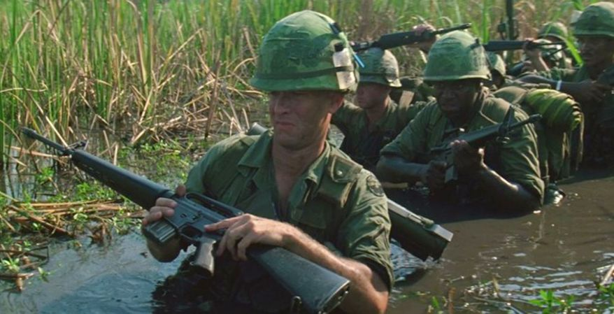 Forrest Gump and Bubba with their M16's.